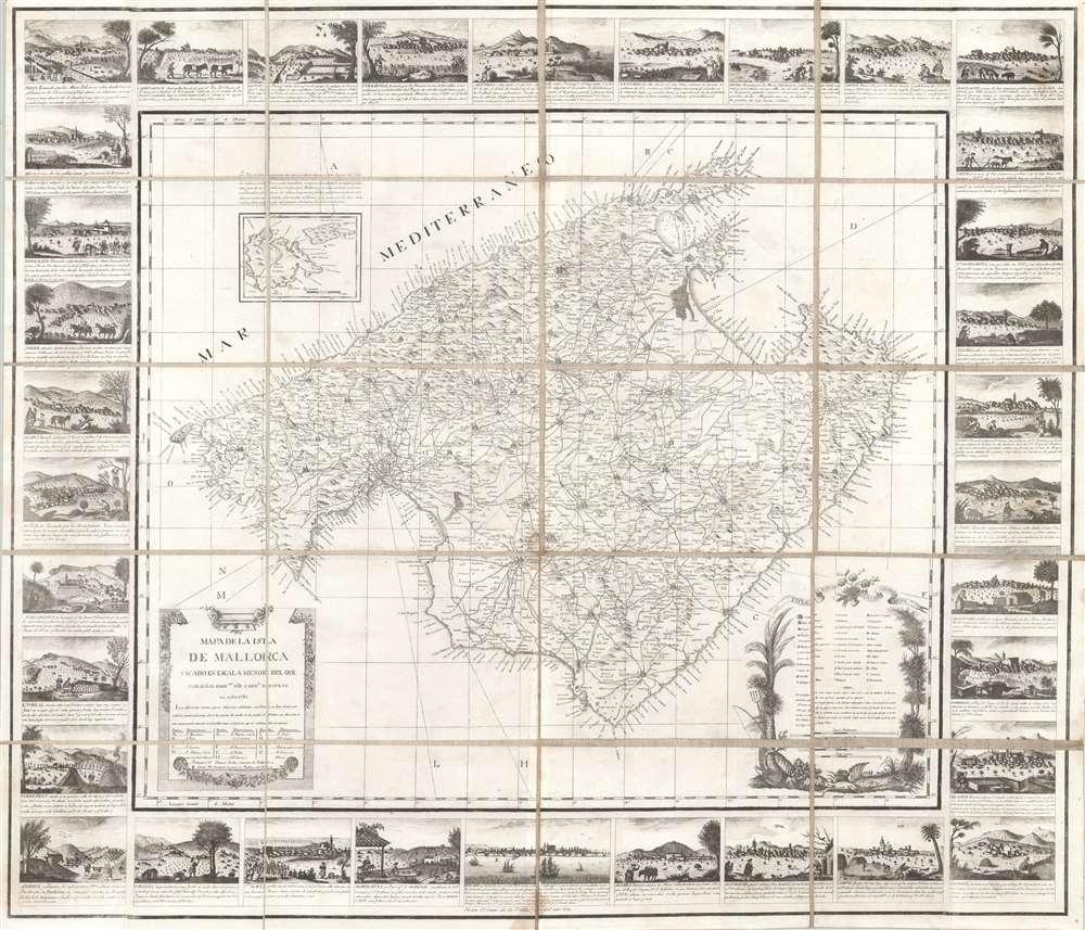 1814 Despuig Map of Majorca, Balaeric Islands, Spain (with surround)