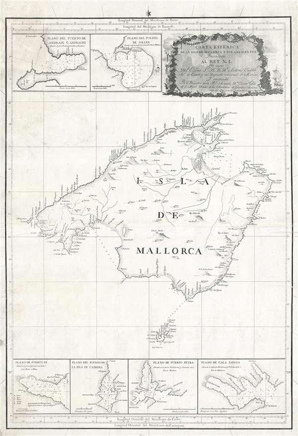 Carta Esferica de la Isla de Mallorca y sus adyacentes.  Presentada al Rey N. S. por mano de... Antonio Valdés y construida por... Dn. Vicente Tofiño de S. Miguel, año 1786. - Main View