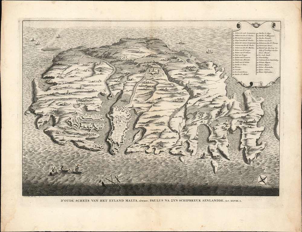D'Oude Schets Van Het Eyland Malta, alwaer, Paulus Na Zyn Schipbreuk Aenlandde . Act. XXVII.1.