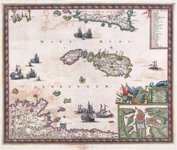 Insula Malta accuratissime Delineata, Urbibus, et Fortalitiis.