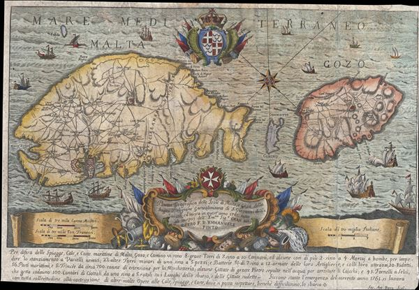 Pianta Geografia delle Isole di Malta, e Gozo della Sagra Religione Gerosolimitana di S. Giovanni delineata, ed incisa in quest anno 1761.
