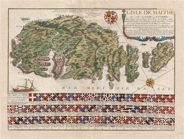 L'Isle de Malthe Et celles de Goze et de Comino, Avec leurs ou Ports, leurs Toursou Vedetes, qu'ils nomment Casati et leurs Precipices qu'ils appelant Redum . . . 1722.