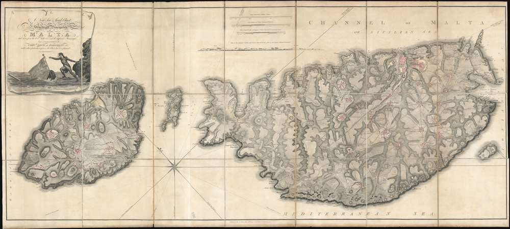 A New Sea and Land Chart of the Sovereign Principality of Malta; laid down from the best Authorities and the different Manuscript Maps communicated to the Chevr. Louis de Boisgelin under whose particular inspection this Chart has been planned. - Main View
