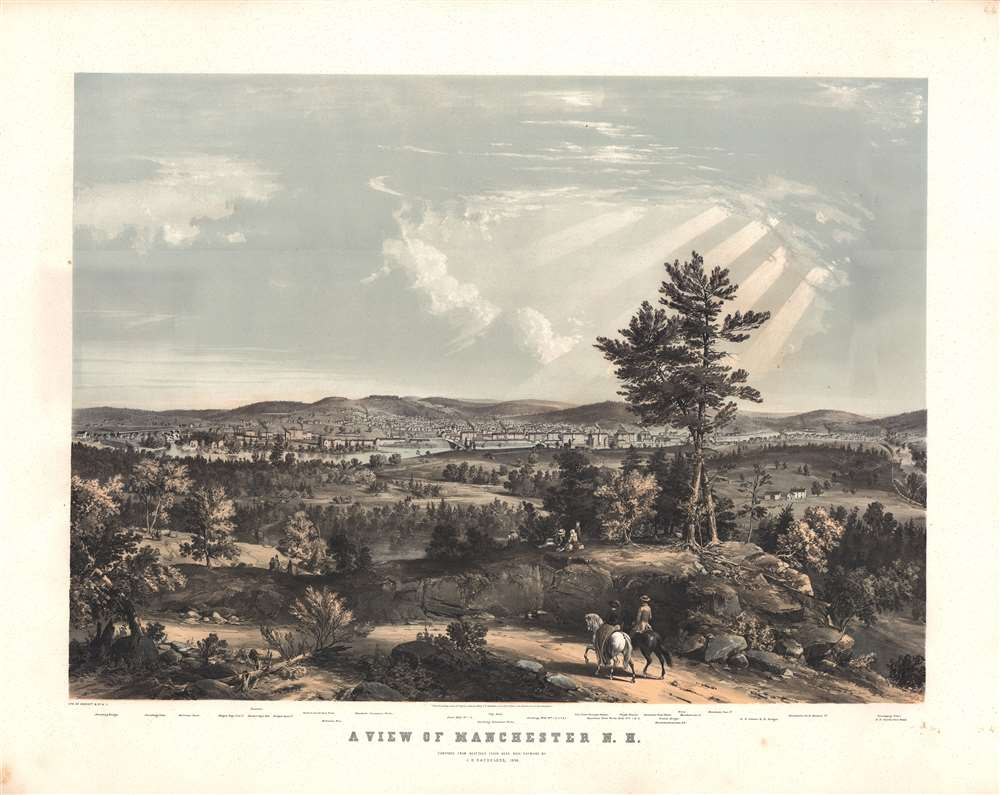 A View of Manchester, N. H., composed from Sketches taken near Rock Raymond by J. B. Bachelder, 1855. - Main View