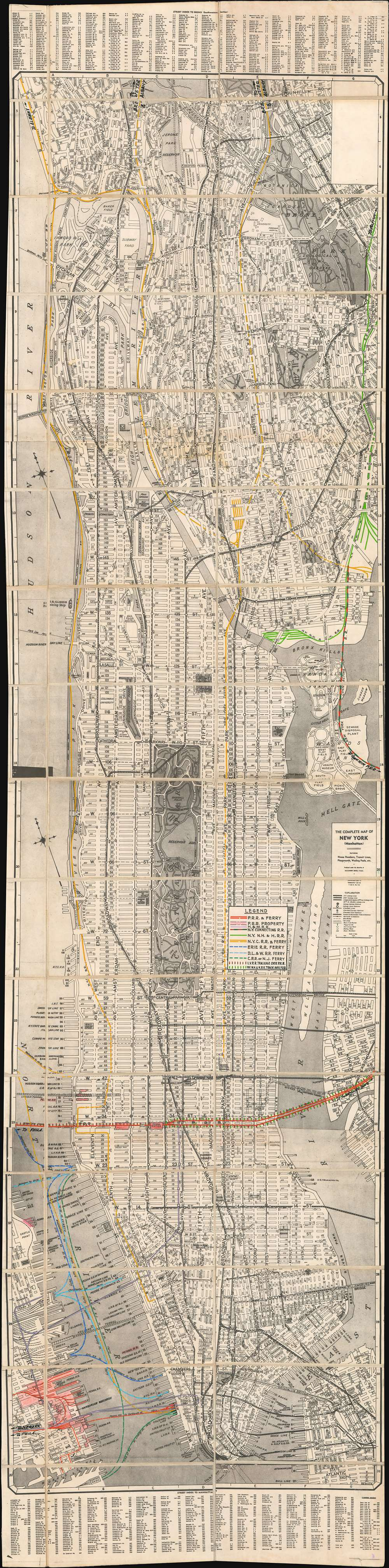 The Complete Map of New York (Manhattan) Featuring House Numbers, Transit Lines, Playgrounds, Wading Pools, etc. - Main View