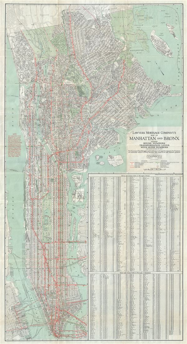 Lawyers Mortgage Company's Map of Manhattan and Bronx showing House Numbers Transportation Lines with Guide Numbers.