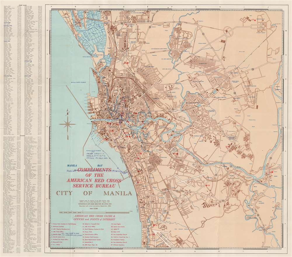 1945 U.S. Army Forces, Pacific City Plan or Map of Manila, Philippines