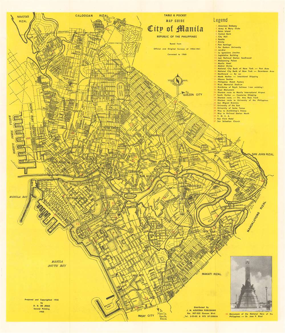 Table and Pocket Map Guide City of Manila Republic of the Philippines.