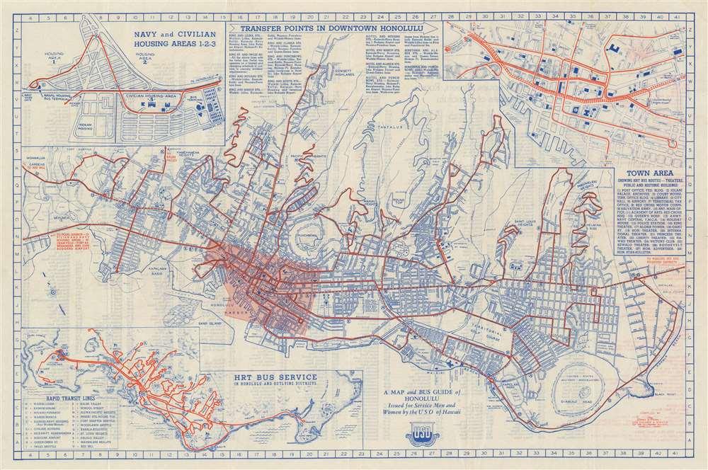 1944 Mann City Map or Plan of Honolulu, Hawaii