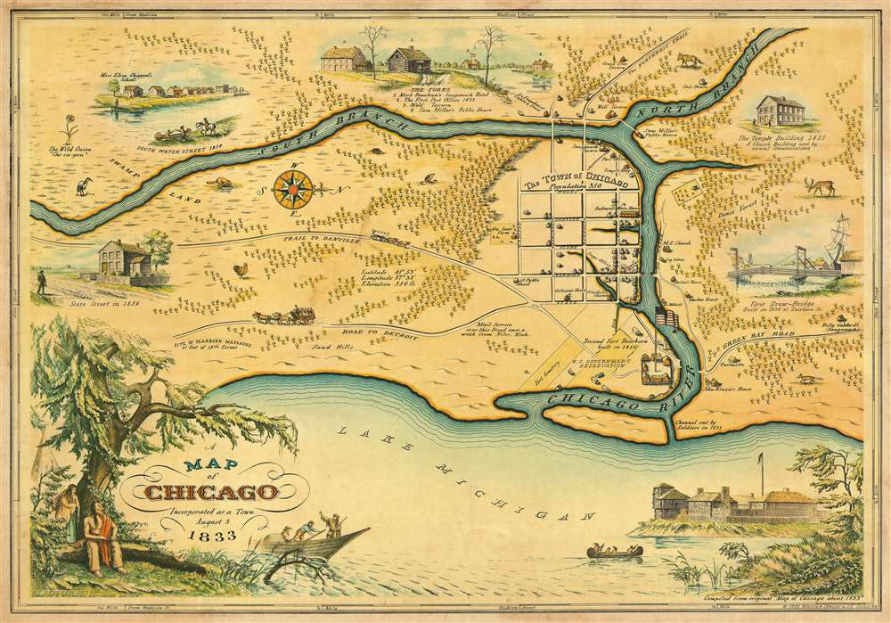 1933 Stelzer and Conley Pictorial Map of Chicago, Illinois (During its Incorporation in 1833)