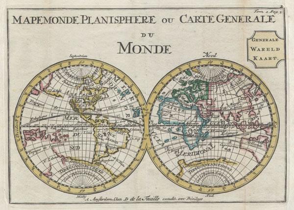 Mapemonde Planisphere ou Carte Generale du Monde / Generale Wareld Kaart.