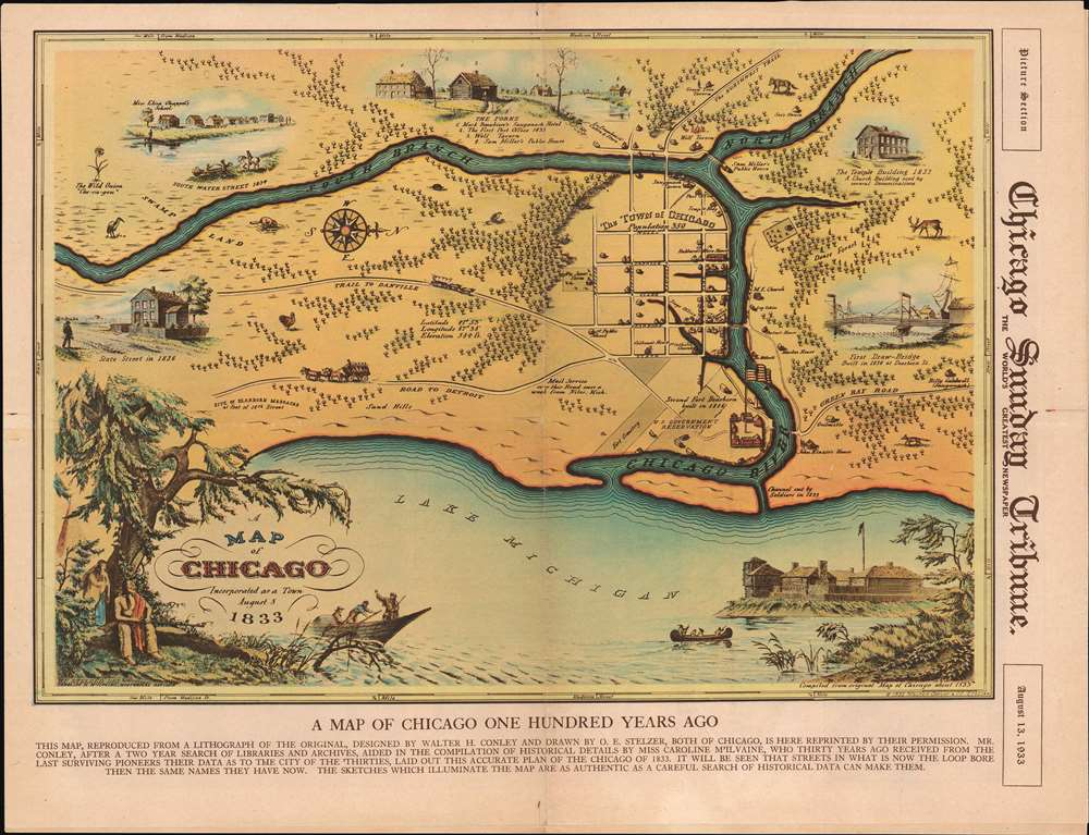A Map of Chicago Incorporated as a Town August 5, 1833. - Main View