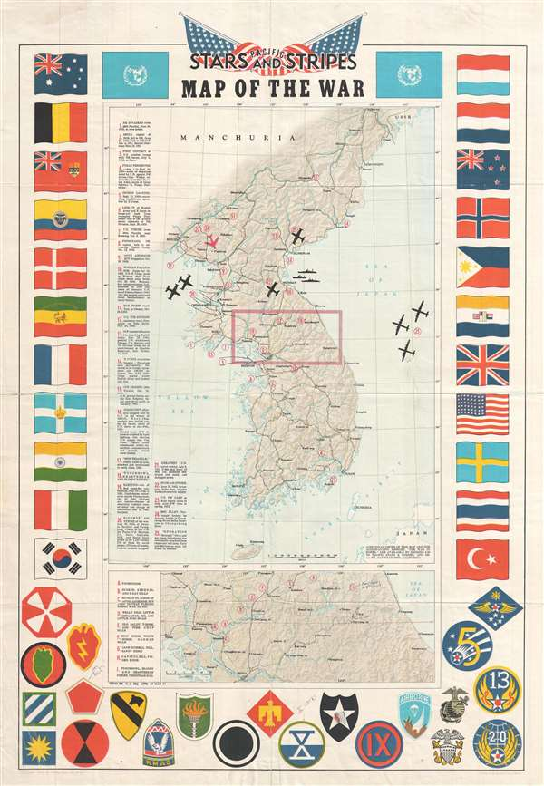Pacific Stars and Stripes Map of the War.