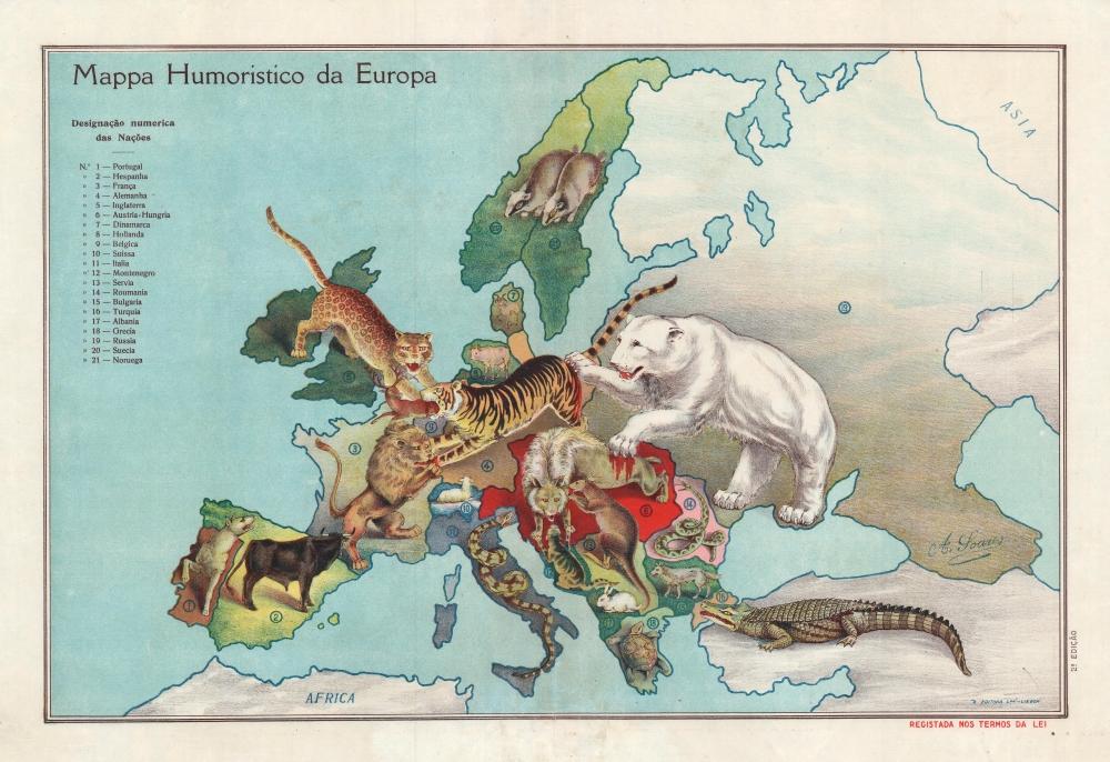 Mappa Humoristico da Europa. - Main View