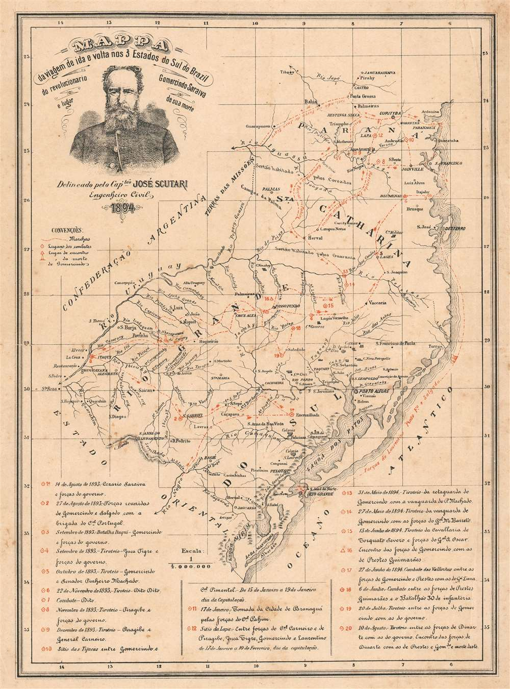 1894 Scutari Map of Southern Brazil During the Federalist Revolution