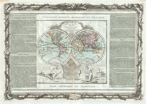 Mappe-Monde dressee pour l'Etude de la Geographie, relativement aux Auteurs les plus Modernes.
