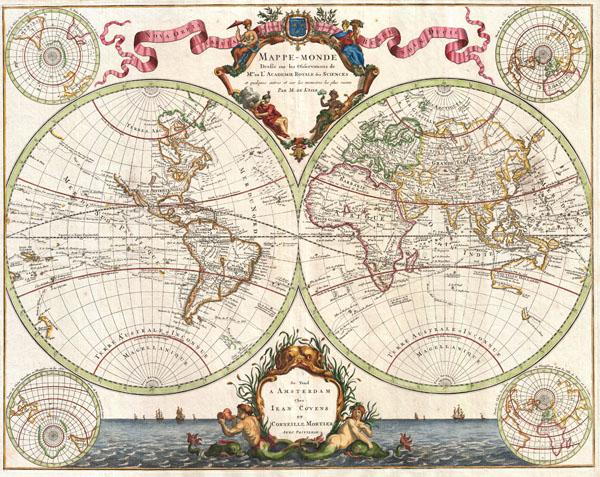Mappe-Monde Dresse sur les Observations de Mrs. De L'Academie Royale des Sciences et quelque3s autres et sur les memoires les plus recens Par M. De L'Isle.