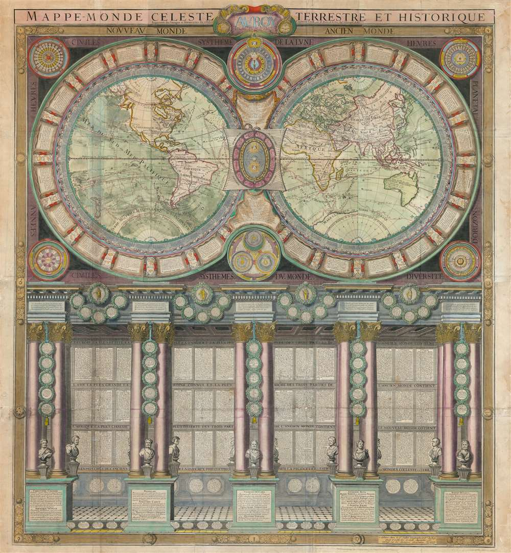 1787 Jaugeon / Desnos Wall Map of the World in Hemispheres