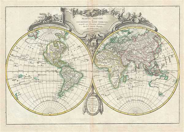 mappe monde ou description du globe terrestre assujettie aux observations astronomiques. Black Bedroom Furniture Sets. Home Design Ideas