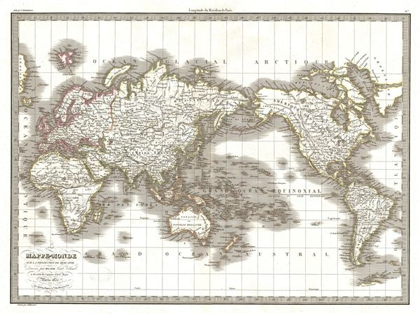 Mappe-Monde sur la Projection de Mercator.