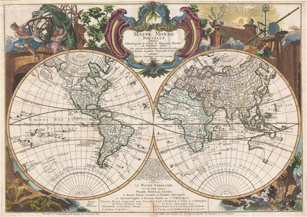 Mappe monde nouvelle : dediée a monseigneur le comte de Maurepas Ministre et Secretaire d'Etat.