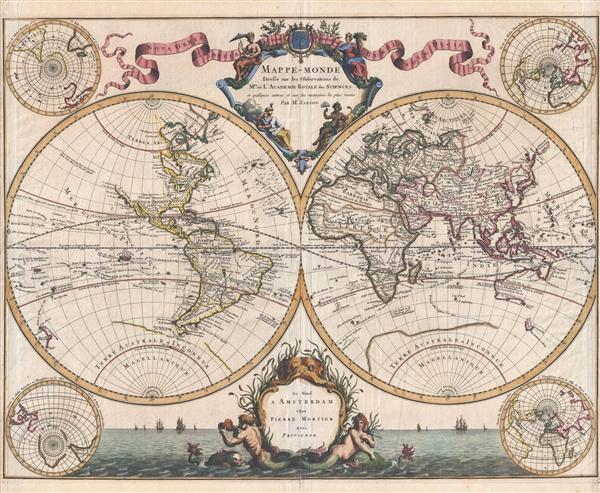 Mappe-Monde Dresse sur les Observations de Mrs. De L'Academie Royale des Sciences et quelques autres et sur les memories les plus recens.
