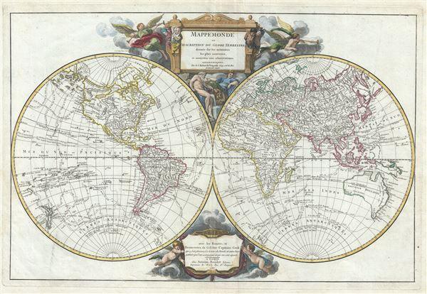 Mappemonde ou Description du Globe Terrestre; dressee sur les memoires les plus nouveaux, et assujettie aux observations astronomiques.