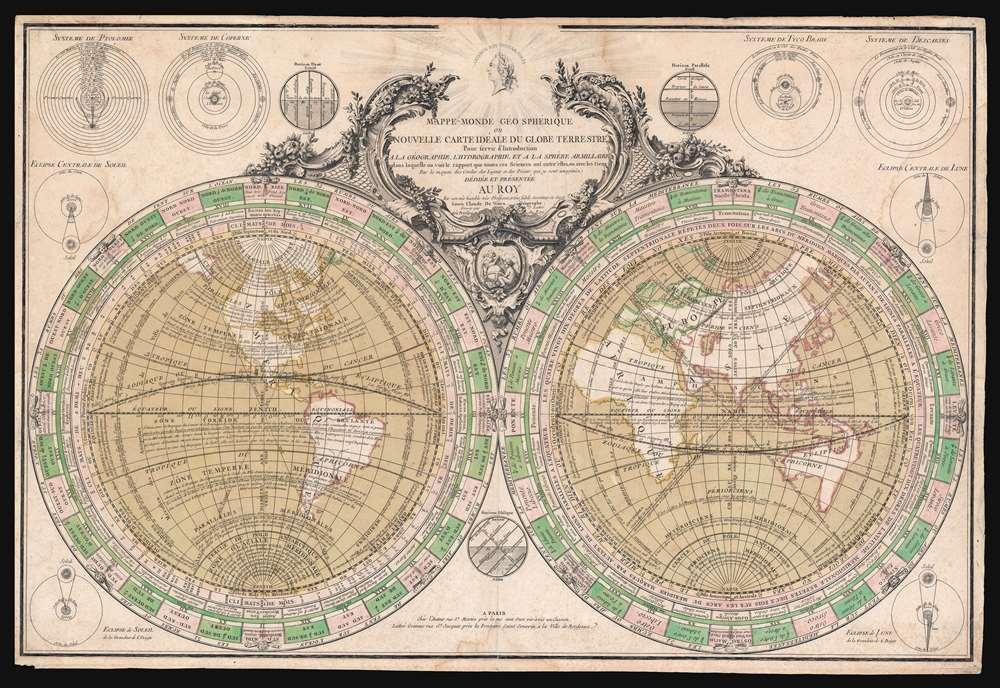 1760 Vezou and Lattré Scientific Map of the World