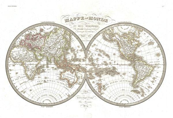 Mappe-Monde en deux Hemispheres.