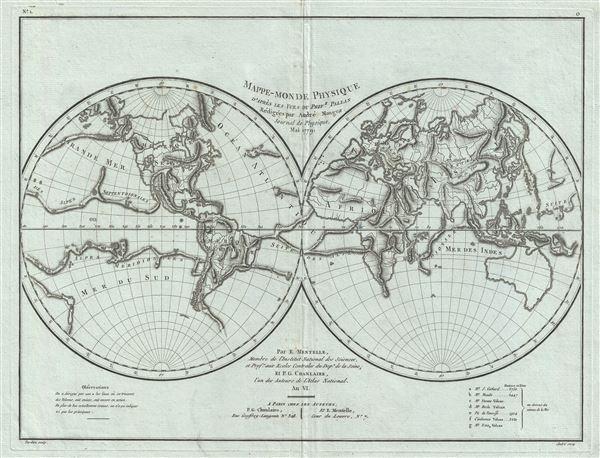 Mappe-Monde Physique d'Apres les Vues du Profr. Pallas Redigees par Andre Mongez Journal de Physique, Mai, 1779.