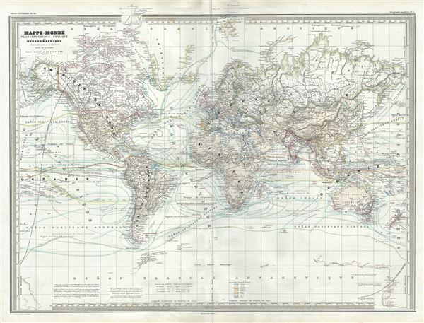 Mappe-Monde Planispherique Physique et Hydrographique.