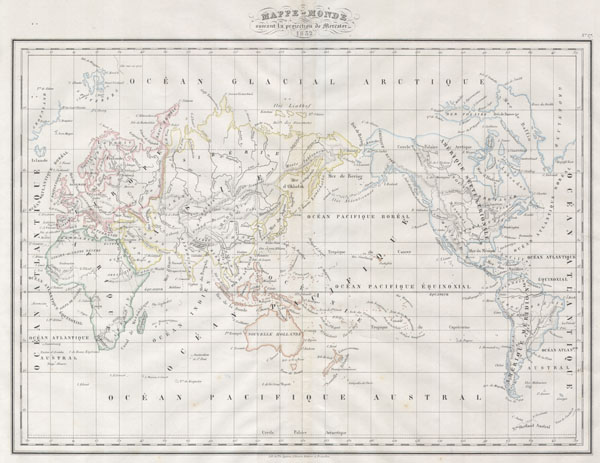 Mappe-monde suivant la projection de Mercator.