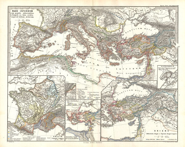1865 Spruner Map of the Mediterranean from Pompey to the Battle of Actium