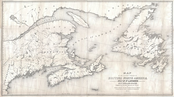 Map of the Eastern Portion of British North America including the Gulf of St. Lawrence, and part of the New England States Compiled from the latest Surveys and Charts, by Henry F. Perley for the Report of Israel D. Andrews, to Hon. Thomas Corwin, Secretary of the Treasury. - Main View