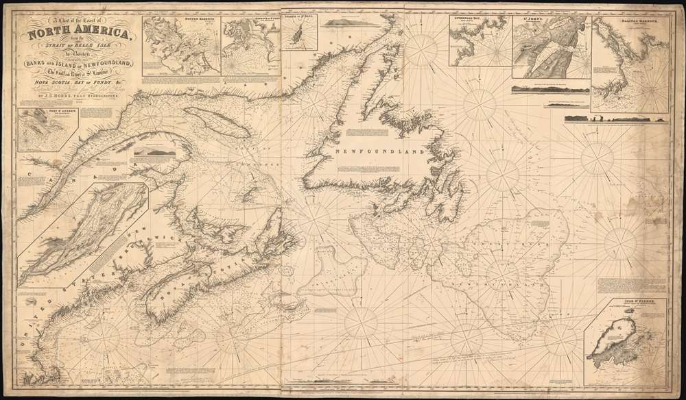 1848 Hobbs Blueback Nautical Map of Newfoundland, Nova Scotia, Canada