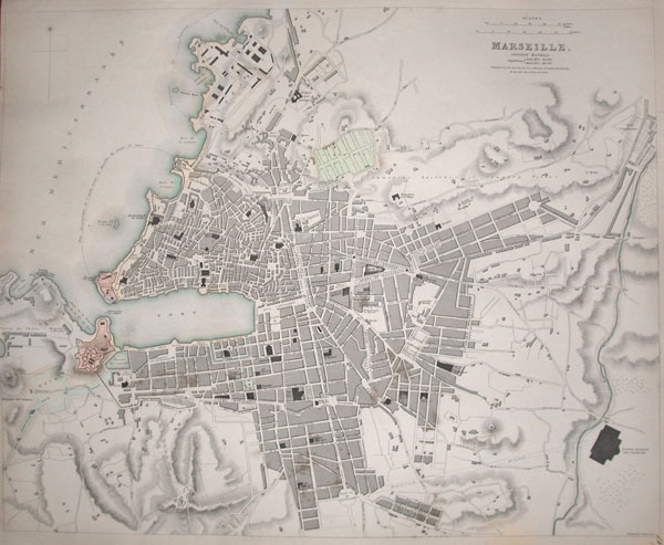1840 S.D.U.K. Map or City Plan of Marseilles, France