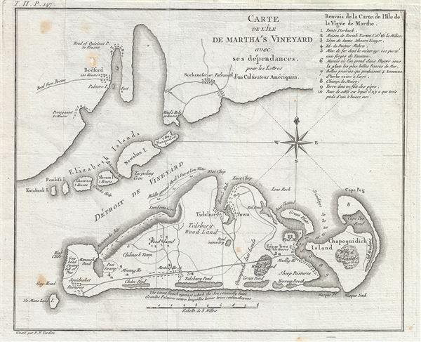 Carte de L'Ile de Martha's Vineyard avec ses dependances, pour les Lettres d'un Culuvateur Ameriquyain.