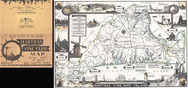 1935 Parker Pictorial Map of Martha's Vineyard Island, Massachusetts