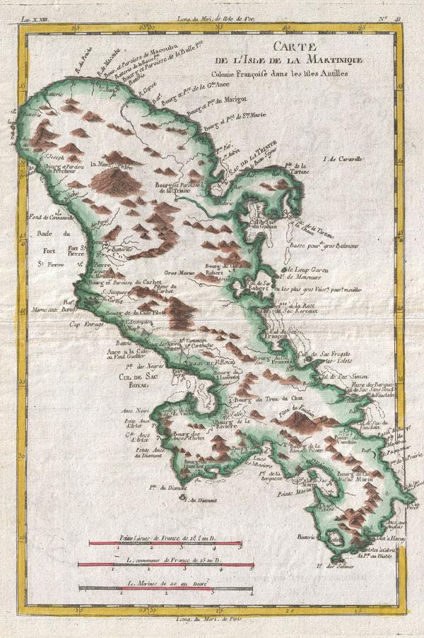 Carte de L'Isle de la Martinique Colonie Francoise dans les Illes Antilles.