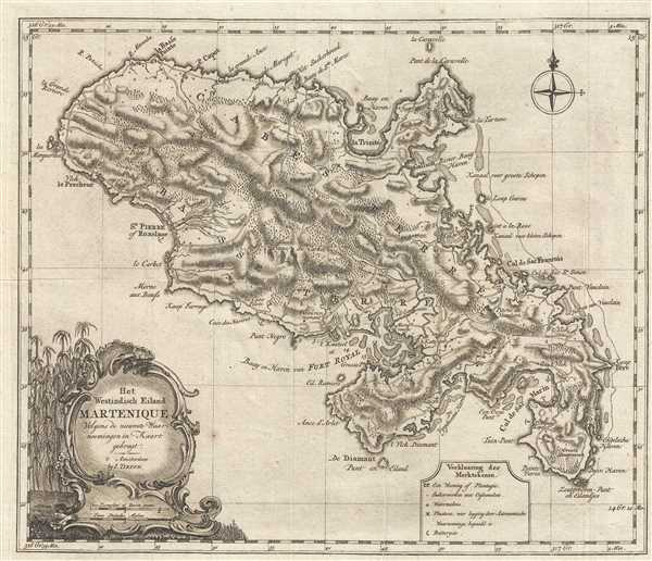 Het Westindisch Eiland Martenique Volgens de nieuwste Waar neemingen in Kaart gebragt.