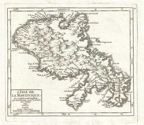 L'Isle de la Martinique. Par le Sr. Robert de Vaugondy, Fils de Mr. Robert Geogr. ord. du Roi.