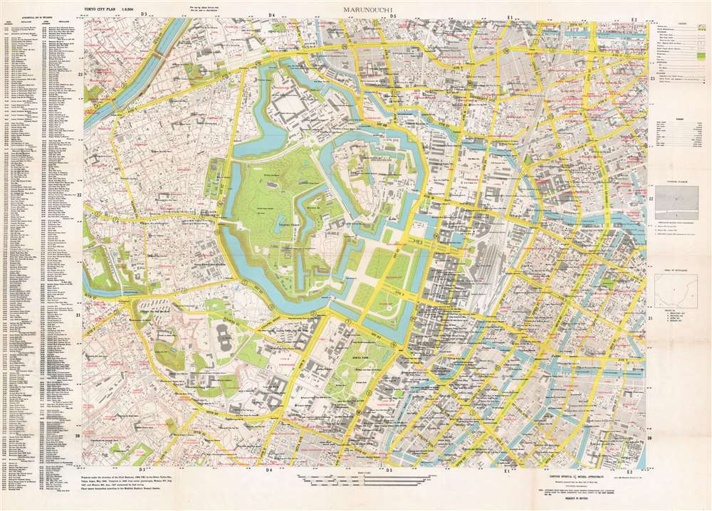 1948 U.S. Army Map of Marunouchi District, Central Tokyo, Japan