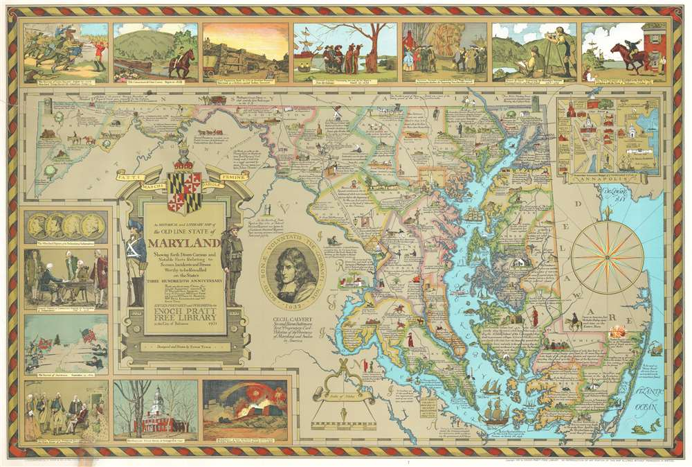 1931 Edwin Tunis Historical Pictorial Map of Maryland