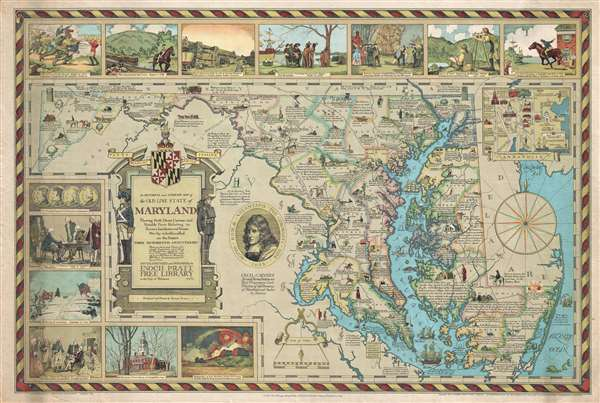 An Historical and Literary map of the Old Line State of Maryland Showing forth divers curious and notable facts relating to scenes, incidents and persons worthy to be recalled on the state's three hundredth anniversary.