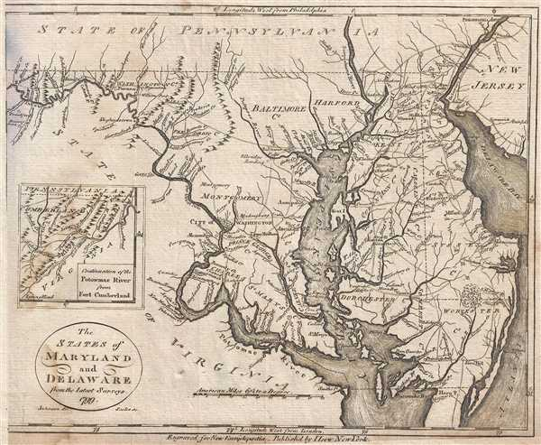 The States of Maryland and Delaware from the latest surveys. 1799.