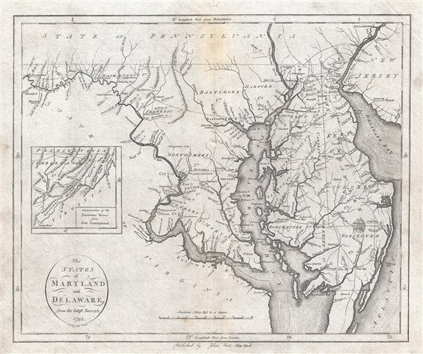 States of Maryland and Delaware from the latest Surveys. 1795.