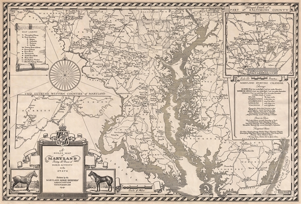 1941 Pictorial Horse Map of Maryland