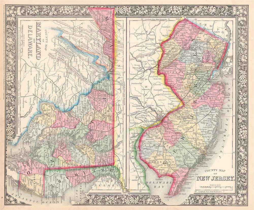 County Map of New Jersey.  County Map of Maryland and Delaware. - Main View