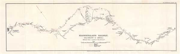 1900 British South Africa Company Map of a Rail Line in Zimbabwe (Rhodesia)