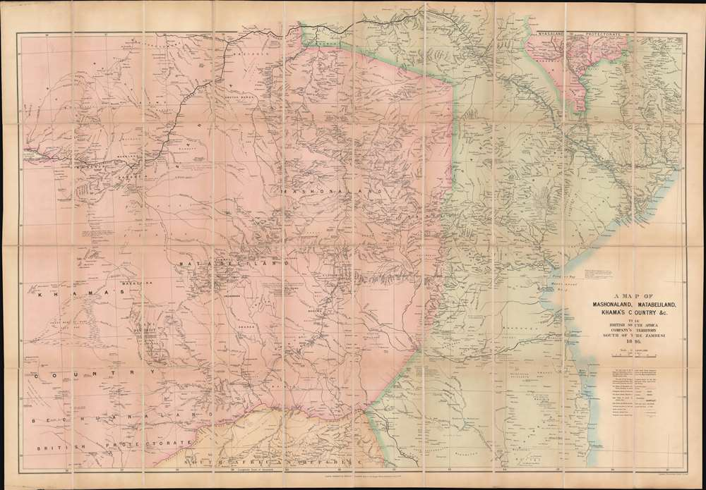 A Map of Mashonaland, Matabeliland, Khama's Country, etc. The British South Africa Company's Territory South of the Zambesi. - Main View